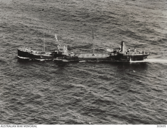 Aerial port quarter view of the Greek tanker SS Nicolaou Maria, which Hansen sailed on from May 1941 to January 1942 (Australian War Memorial)